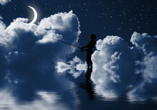 Fishing at night Royalty Free Stock Photography