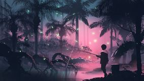 Fishing on the night swamp stock illustration