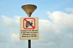 Fishing Is Not Allowed Sign Royalty Free Stock Photos