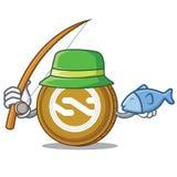 Fishing Nxt coin mascot cartoon. Vector illustration Royalty Free Stock Photo