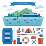 Fishing object set and header. Fishing on the boat, flat style. Vector illustration, flat style Stock Photo