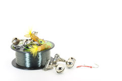 Fishing objects. Fishing line lures, hooks and bells isolated on white Royalty Free Stock Image