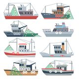 Fishing ocean boats. Commercial fisherman ships isolated vector set. Nautical fishing vessel, shipping sea fish illustration vector illustration