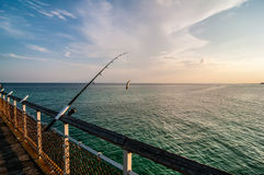 Fishing of an ocean pier Royalty Free Stock Images