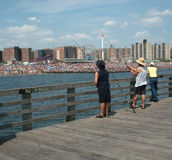 Fishing, Coney Island Pier, Brooklyn New York USA royalty free stock photos