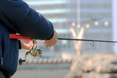Fishing off the pier in the city of Vladivostok Royalty Free Stock Images