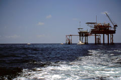Fishing at Oil & Gas Platforms Stock Photo