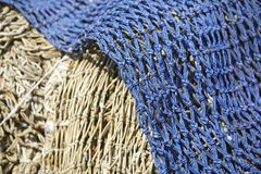 Fishing - Old fishing nets in the harbor Royalty Free Stock Photos