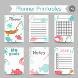 Fishing organizer Flat fish planner, with net or rod. Salmon steak and boat, fisher tackles, baits To do list and notes. Vector illustration Stock Image
