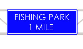 Fishing park label. Fishing park sign on the way Stock Photography