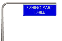 Fishing park label on the way. Fishing park sign on the way Royalty Free Stock Image