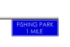 Fishing park label on the way. Fishing park sign on to the way Royalty Free Stock Photography