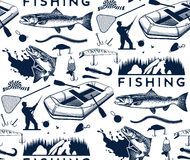 Fishing. Pattern with salmon fishing emblems, labels and design elements Stock Images
