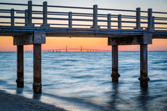 Fishing Pear frames the skyway bridge from Fort DeSoto in Florida Stock Image