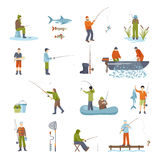 Fishing People Fish And Tools Icons Set. Colorful different ways fishing people fish accessory and tools for fishing isolated icons set on white background Royalty Free Stock Images