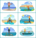 Fishing People Images Set Vector Illustration. Fishing people surrounded by nature and seascapes. Images set man wearing special uniform and hats. Males floating vector illustration