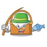 Fishing picnic basket mascot cartoon. Vector illustration Royalty Free Stock Photo