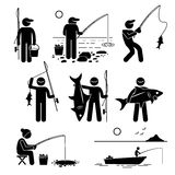 Fishing Pictogram Cliparts royalty free illustration