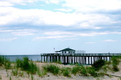 Fishing Pier. A pier at the fishing club at the Jersey shore Royalty Free Stock Photography