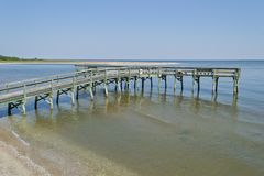 Fishing Pier. Fishing and observation pier on the Chesapeake Bay near Lusby, Maryland USA stock photo