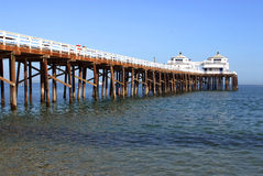 Fishing Pier. Famous Malibu Pier, California on a sunny, cloudless day Royalty Free Stock Images
