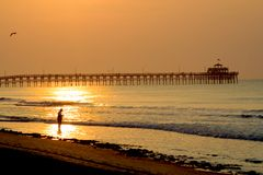 Fishing at the pier. A man fishing at the beach just after sunrise stock photography