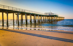 Fishing pier and the Atlantic Ocean at sunrise in Ventnor City,. New Jersey Stock Photography