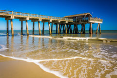 The fishing pier and Atlantic Ocean at Tybee Island, Georgia. Royalty Free Stock Photography