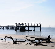 Fishing pier and beach Stock Photo