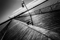 Fishing pier at Cape Henlopen State Park, Delaware royalty free stock photos