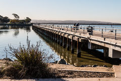 Fishing Pier at Chula Vista Bayfront Park. With San Diego bay Royalty Free Stock Photography