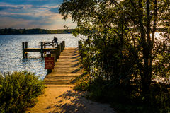 Fishing pier at Cox Point Park in Essex, Maryland. Stock Photo