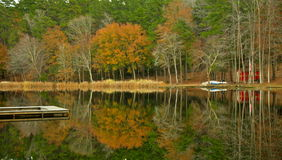 Fishing Pier in Fall Stock Photography