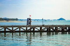 The fishing pier and  Ferry boat crossing . On the island. Stock Image