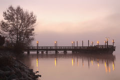 Fishing Pier Fog, Fraser River, Richmond Stock Photos