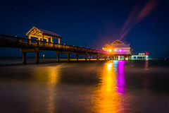 Fishing pier and the Gulf of Mexico at night, in Clearwater Beac Stock Photos