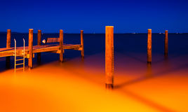 The fishing pier in Havre de Grace, Maryland at night.  Stock Photos