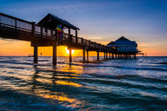 Free Fishing Pier In The Gulf Of Mexico At Sunset,  Clearwater Beach, Stock Photo - 47650040