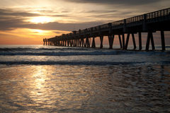 Fishing Pier. Jacksonville Beach, Florida Fishing Pier in early morning Stock Images