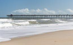 Fishing Pier at Kure Beach, NC stock photo
