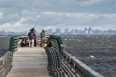 Fishing From Pier royalty free stock photo