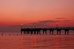 Fishing Pier Morning. Morning sunrise on the Delaware Bay Stock Photo