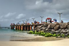 A fishing pier near the town Santa Maria - Sal Island - Cape Verde Royalty Free Stock Image