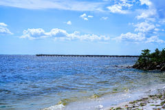 Fishing Pier. One of the many fishing piers on Charlotte Harbor they are always in use day and night Stock Image