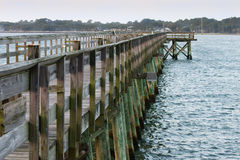 Fishing pier over coastline marsh Stock Images
