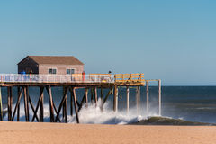 Fishing Pier during Rough Seas Stock Photos