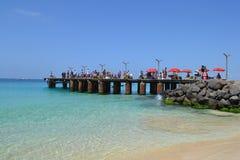 Fishing pier in Santa Maria. Sal, Capo Verde Royalty Free Stock Photos