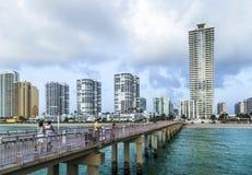 Fishing Pier in Sunny Isles Beach , Florida stock photos
