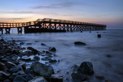 Fishing Pier Sunrise. Sunrise at the fishing pier at Port Mahon, Dover Delaware Stock Photo