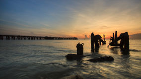 Fishing Pier on sunrise. HuaHin, Thailand Stock Images